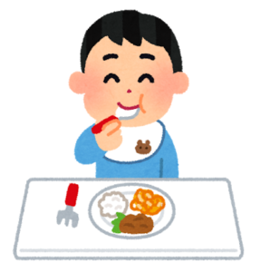 ご飯を食べる幼児のイラスト